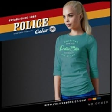 POLICE GC.019 BODYGIRL LITE BLUE PRINTED LONG SLEEVE T-SHIRT