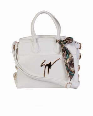 2-in-1 Zanotti Buckle Bag with Ribbon - White