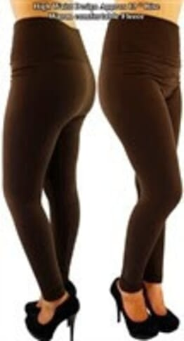 High Waist Thick Leggings - Brown