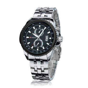 Curren 8082 Black Face Wrist Watch - Silver