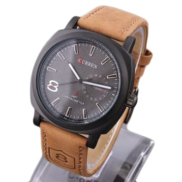 Curren 8139 Black Face Quartz Analog Leather Watches - Brown