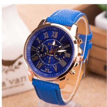 GENEVA 9701 Dark Blue Leather Strap Unisex Wrist Watch