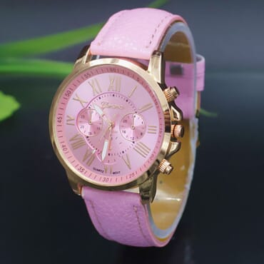GENEVA 9701 Lite Pink Leather Strap Unisex Wrist Watch