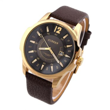 Curren 8123 Golden Black Dial Leather Watches - Brown