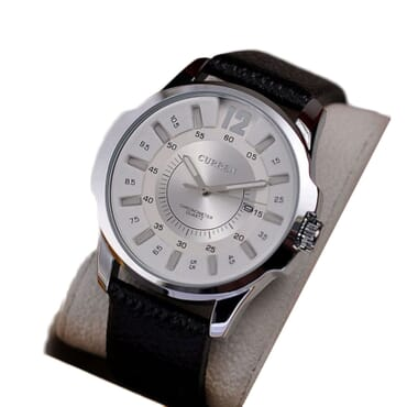 Curren 8123 Silver White Face Leather Watches - Black