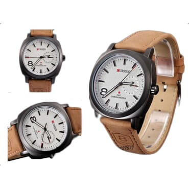 Curren 8139 White Face Quartz Analog Leather Watches - Brown