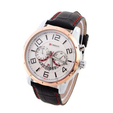 Curren 8140 Leather Watch with Calendar White Face