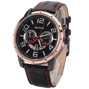 Curren 8140 Leather with Calendar Gold Rim Black Face Watches