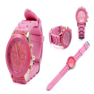 Geneva 9704 Lite Pink Silicone Strap Unisex Wrist Watch
