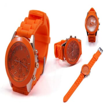 Geneva 9704 Orange Silicone Strap Unisex Wrist Watch
