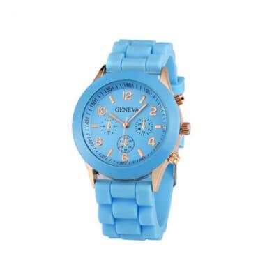 Geneva 9704 Lite Blue Silicone Strap Unisex Wrist Watch