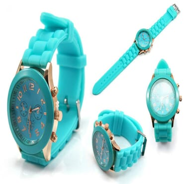 Geneva 9704 Silicone Unisex Wrist Watches - Mint Green