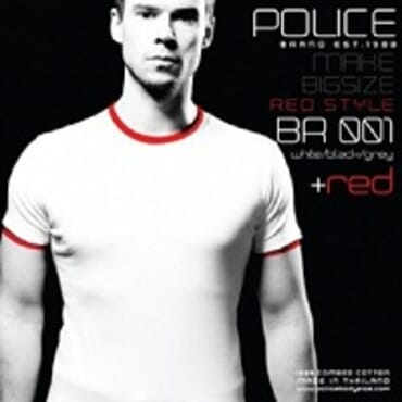 Police Bigsize Br.001 T-Shirt-White/Black/Grey