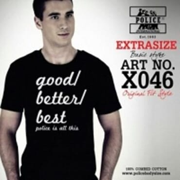Police Extrasize X.032 T-Shirt-White/Black/Grey