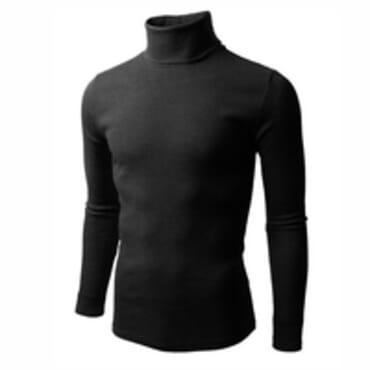 UZEM BLACK TURTLE NECK BODYSIZE T-SHIRT Size M-Large