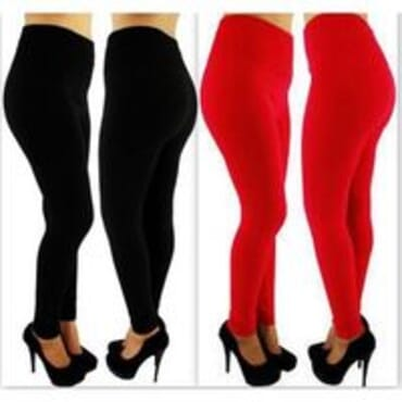 Pack of 2 Ladies Thick Plus Size High-Waist Leggings - Black/Red