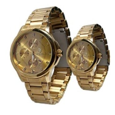 Swish Gold 382m His/ Hers Gold Face Wrist watch