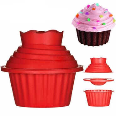 Big Top CupCake Silicone Bakeware Mold Set (Red)