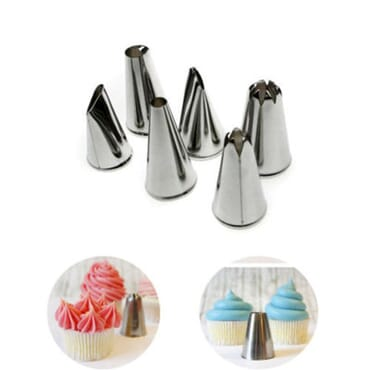 Icing Piping Tips - 6 Pieces- Silver