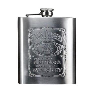 Stainless Steel Jack Daniel Pocket Whisky Liquor Hip Flask- Silver