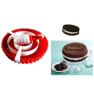 Giant Cookie Maker Silicone Bakewear Set (Red)