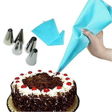 30cmReusable Icing Piping Pastry Bag - Blue + Icing Piping Nozzle Tips - 6 Pieces (Sliver)
