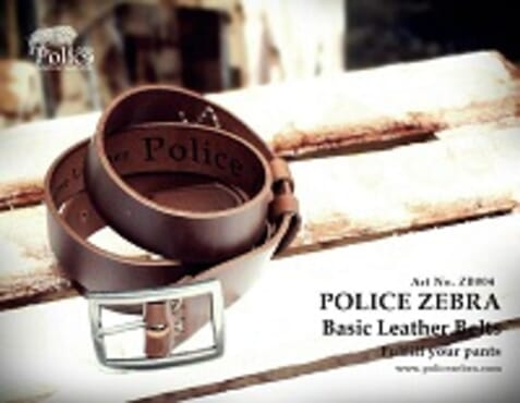 POLICE ZEBRA BELT Art No: ZB 004 BROWN