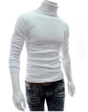 POLICE TURTLE NECK LONGSLEEVE T SHIRT WHITE L-XL
