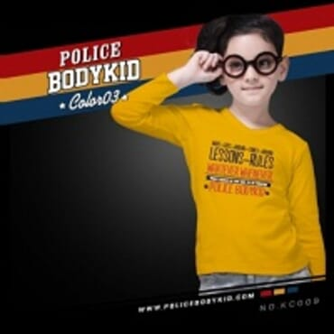 POLICE KC.009 BODYKID YELLOW PRINTED LONG SLEEVE T- SHIRT