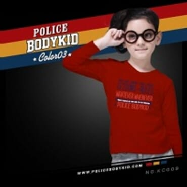 POLICE KC.009 BODYKID RED PRINTED LONG SLEEVE T- SHIRT