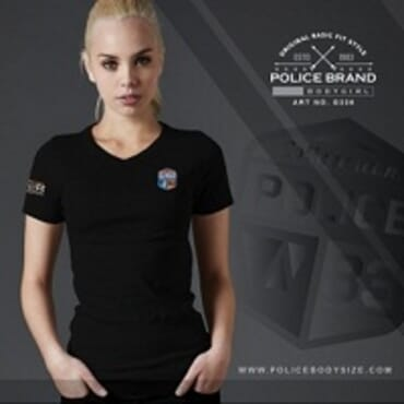 POLICE BODYGIRL WHITE PRINTED SHORT SLEEVE T- SHIRT G336