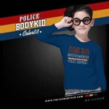 POLICE KC.009 BODYKID NAVY BLUE PRINTED LONG SLEEVE T- SHIRT