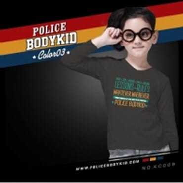 POLICE KC.009 BODYKID GREY PRINTED LONG SLEEVE T- SHIRT