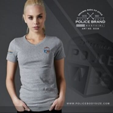 POLICE BODYGIRL GREY PRINTED SHORT SLEEVE T- SHIRT G336