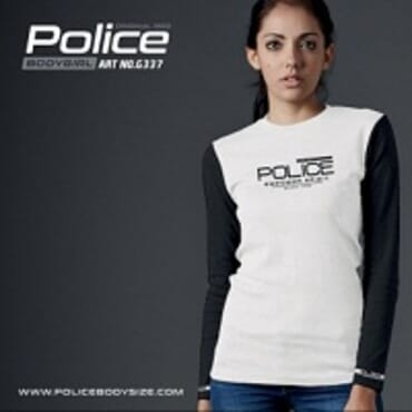 POLICE G.337 BODYGIRL WHITE PRINTED LONG SLEEVE T- SHIRT