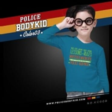 POLICE KC.009 BODYKID LITE BLUE PRINTED LONG SLEEVE T-SHIRT