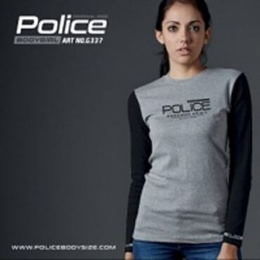 POLICE G.337 BODYGIRL GREY PRINTED LONG SLEEVE T- SHIRT