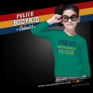 POLICE KC.009 BODYKID GREEN PRINTED LONG SLEEVE T-SHIRT