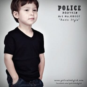 POLICE BODYKID BLACK PRINTED SHORT SLEEVE T- SHIRT KB.007