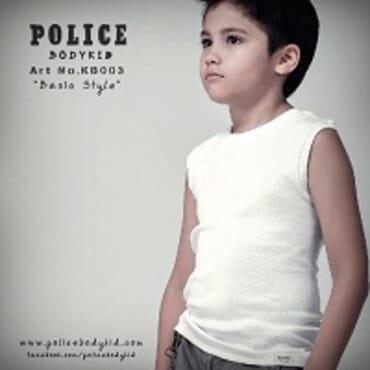 POLICE BODYKID WHITE PRINTED SLEEVELESS T- SHIRT KB.003