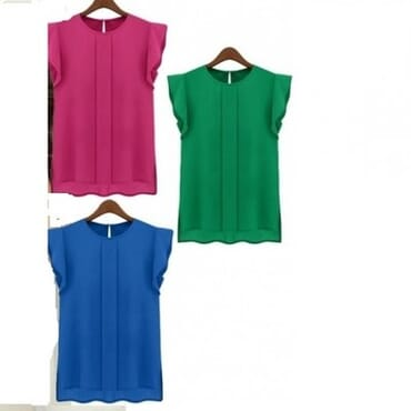 3 Set Women's Chiffon Short Tulip Sleeve Tops - Multicolour
