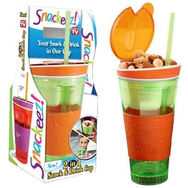 Snackeez 2 In 1 Snack And Drink Cup | Lemon & Orange