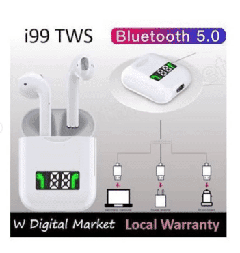 i99 tws bluetooth headset pop-up windows wireless sport headphones 5d stereo led display with charging box.