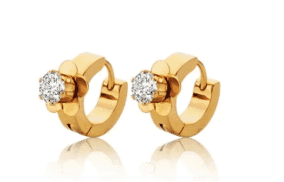 Stainless Steel Small Hoop Crystal Earring - Gold