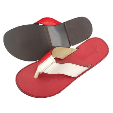 Nediva Men White & Red Leather Slippers - Red Sole
