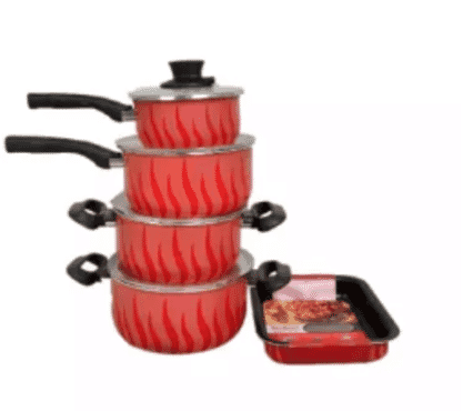 Tefal 5pcs Set Of Tempo Flame Non Stick Pot