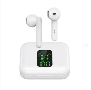 BT-225 Probeats TWS Wireless Earbuds with Mic, Deep Bass & Digital Display Bluetooth Earphones with Charging Case for Mobile Phone & Laptops (White)