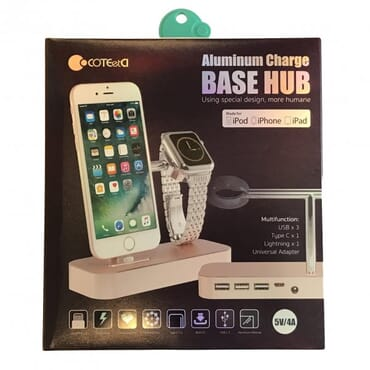 Aluminium Base Hub for iPhone Apple Watch Charging Dock Stand - Gold