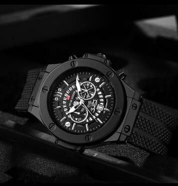 Vava Voom Mens Fashion Watch Silicone Strap Watch Analog Calender Display Quartz Watch