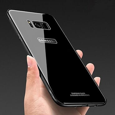 Samsung S8 Plus Back Case Tempered Glass - Black